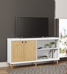 Yemon TV Unit with Two Door in White Finish
