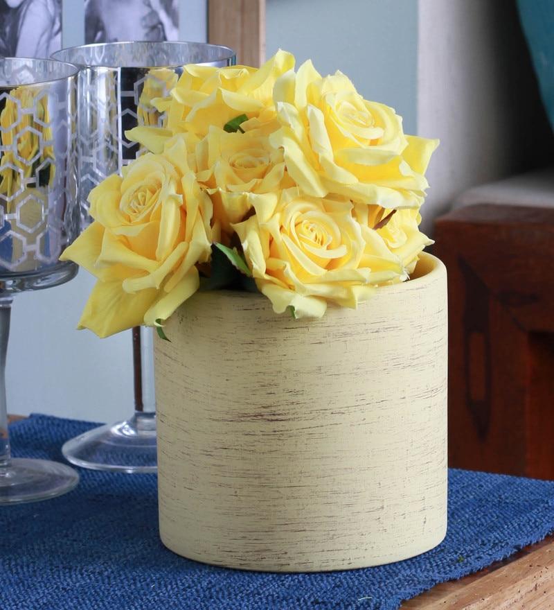 Yellow Ceramic Flower Vase by Fourwalls