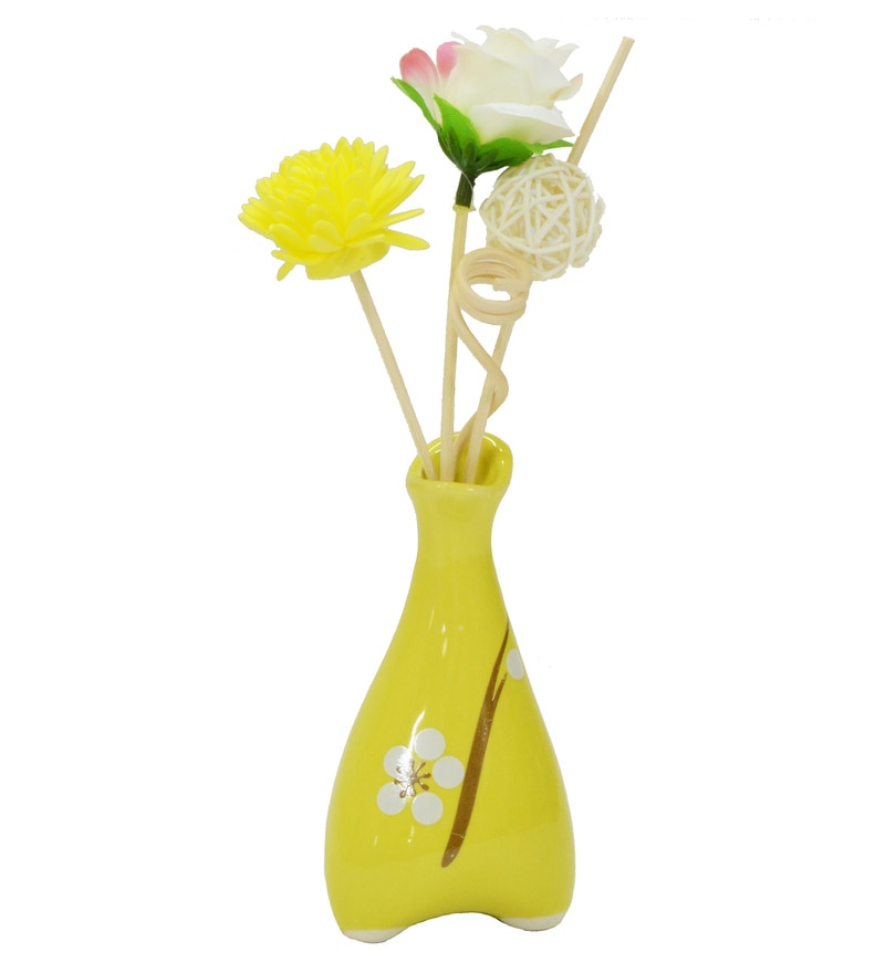 Yellow Floral Reed Sticks Aroma Oil Diffuser by Stybuzz