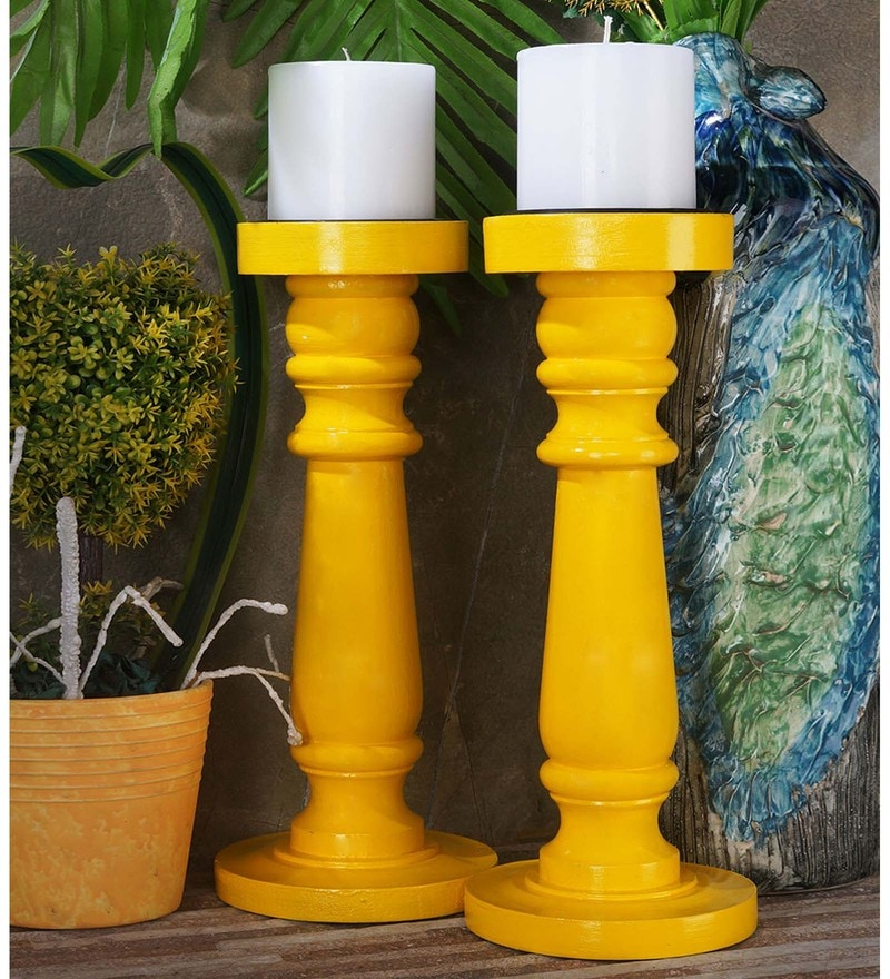 Yellow Mango Wood Hand Painted Candle Holder by Rang Rage - Set of 2