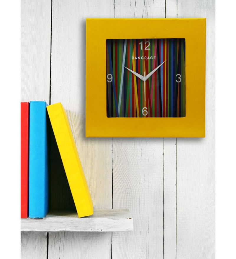 Yellow MDF 12 x 12 Inch Rainbow Square Wall Clock by Rang Rage