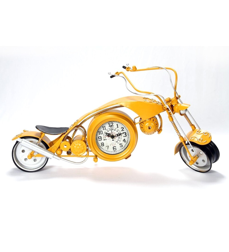 Yellow Metal Bike Desk Clock by V Decor