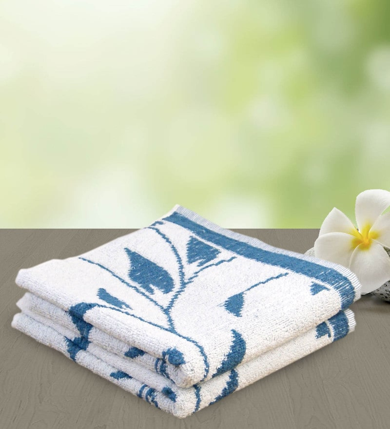Blue 100% Cotton 19 x 33 Hand Towel by Yellow Spun