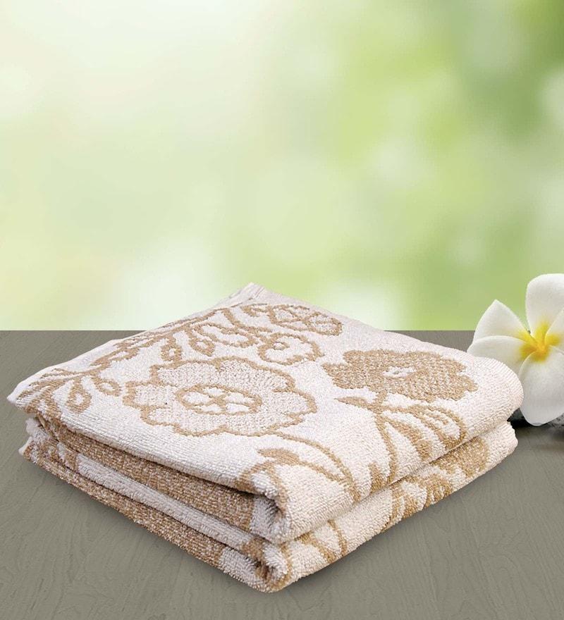 Brown and White 100% Cotton 25 x 50 Bath Towel by Yellow Spun