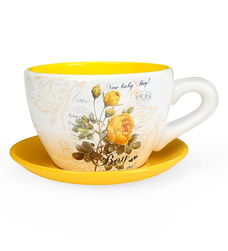 Yellow Terracotta Mini Garden Cup Saucer Planter by @Home