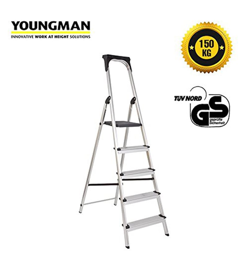 Youngman Upgrade Aluminium 5 Steps 5.5 FT Ladder with Upper Tool Kit