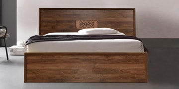 Yukashi Queen Size Bed With Storage In Columbia Walnut Finish