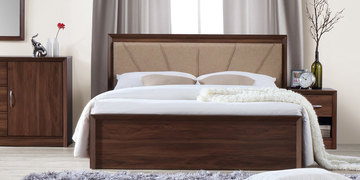 Yuko Queen Size Bed With Hydraulic Storage In Columbia Walnut Finish By Mintwud