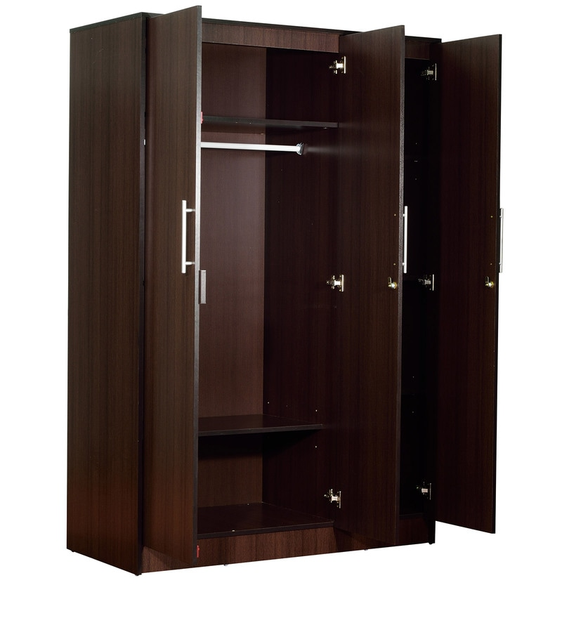 buy yuina three door wardrobe in wenge finish by mintwud. Black Bedroom Furniture Sets. Home Design Ideas