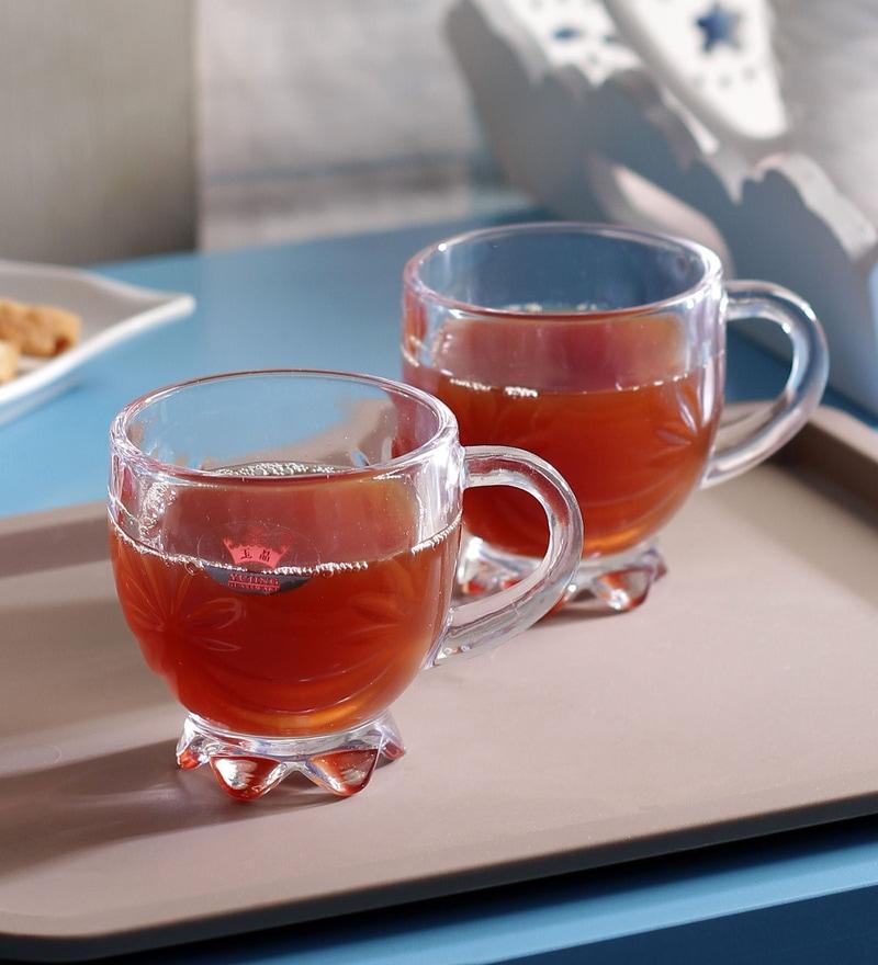 Yujing Round Flora Glass 146 ML Tea Cups Set - Set of 6