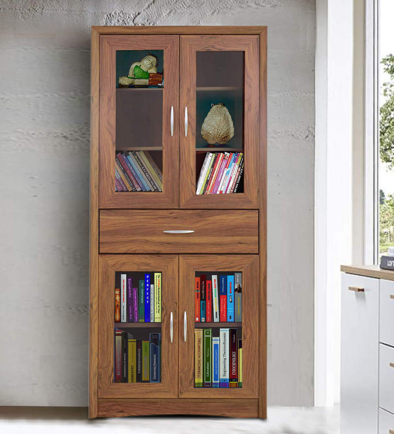 Yuko Four Door Book Case in Columbia Walnut Finish by Mintwud