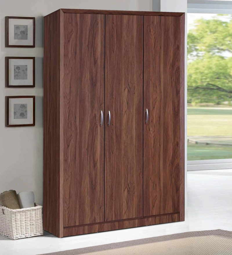 Yuko Three Door Wardrobe in Columbia Walnut Finish by Mintwud