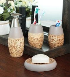Zahab Ceramic Multicolour Bathroom Set - Set Of 4