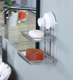 Zahab Double Layer Silver Metal Soap Holder With Suction Cup