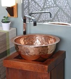 Zahab Leaf Design Hammered Copper Wash Basin