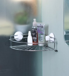 Zahab Silver Stainless Steel Corner Shelf
