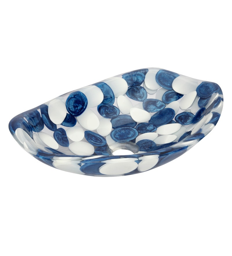 Zahab Blue Resin Pebbles Oval Wash Basin