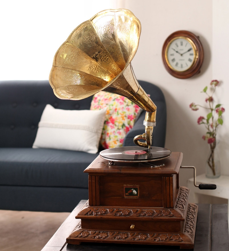 Brown Wooden Antique Brass Craving Gramophone with Drawer by Zahab