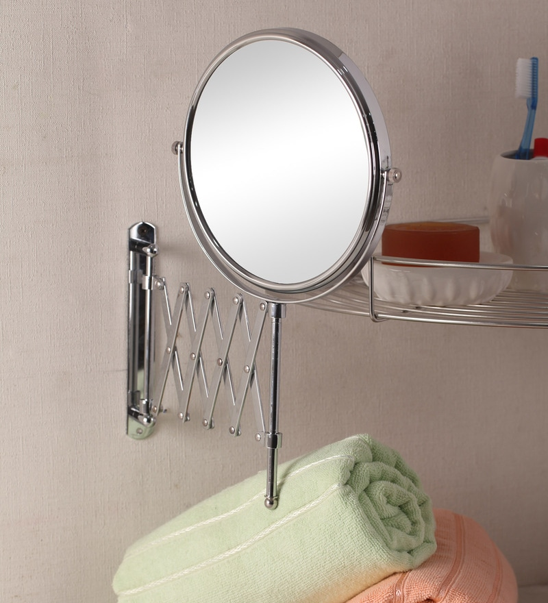 Zahab Silver Stainless Steel Cosmetic Mirror