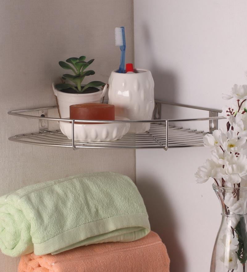 Zahab Silver Stainless Steel Corner Shelf