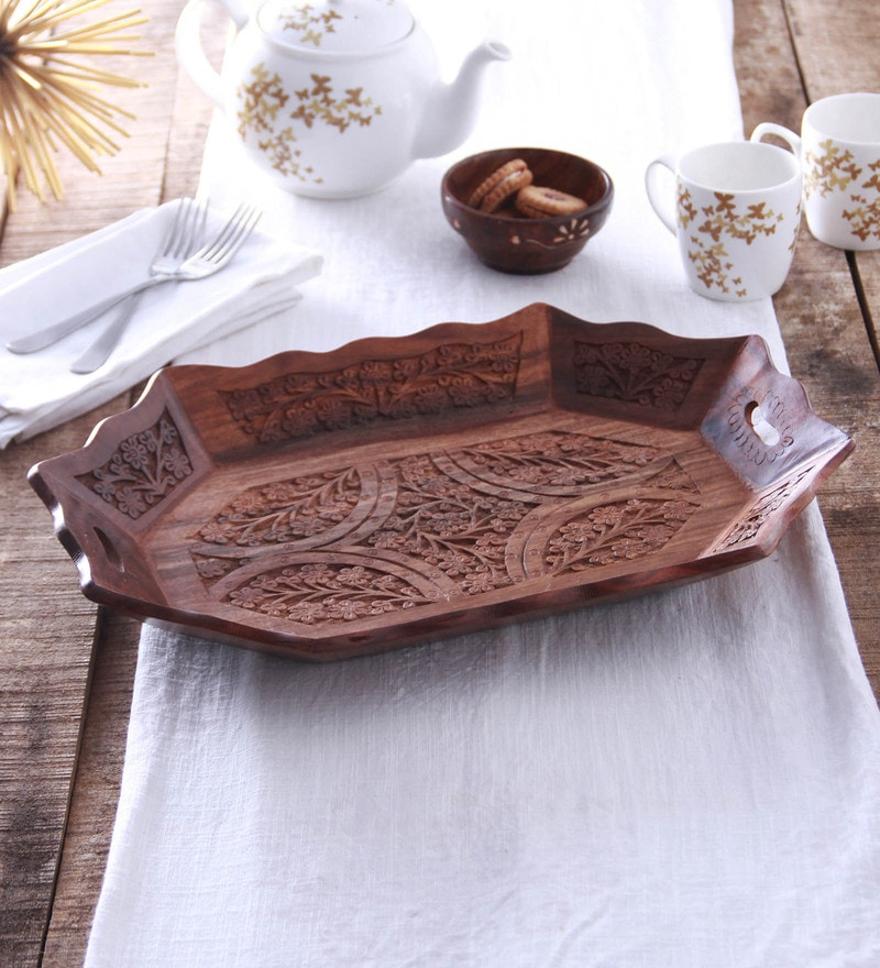 Zahab Wooden 15 Inch Serving Tray