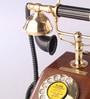 Brown Brass & Wood Maharaja Taper Box Retro Telephone by Zahab