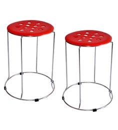 Zecado Red Stainless Steel & PVC Kitchen Stools - Set Of 2