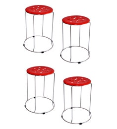 Zecado Red Stainless Steel & PVC Kitchen Stools - Set Of 4