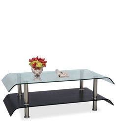 Zee Center Table With Clear Glass Top & Shelf In Black Colour