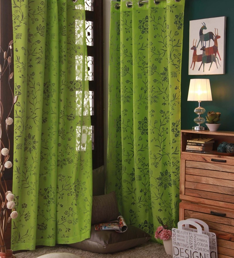 Green Cotton and Polyester Curtain by Marigold