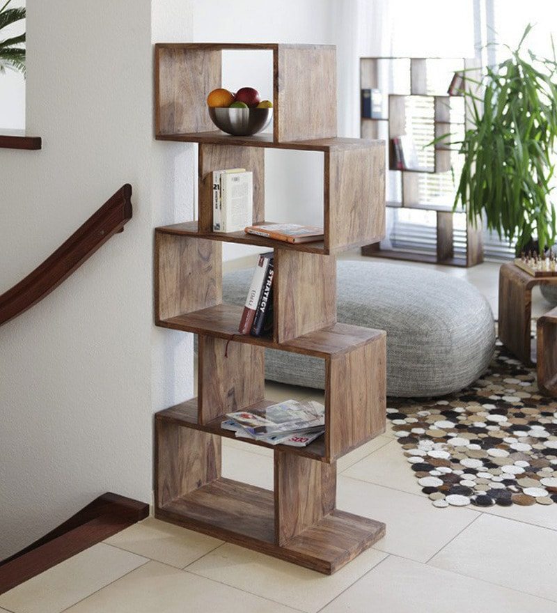 buy zig zag book shelf cum display unit in natural polish. Black Bedroom Furniture Sets. Home Design Ideas
