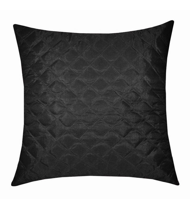 Black Polyester 16 x 16 Inch Square Quilting Cushion Cover by Zikrak Exim