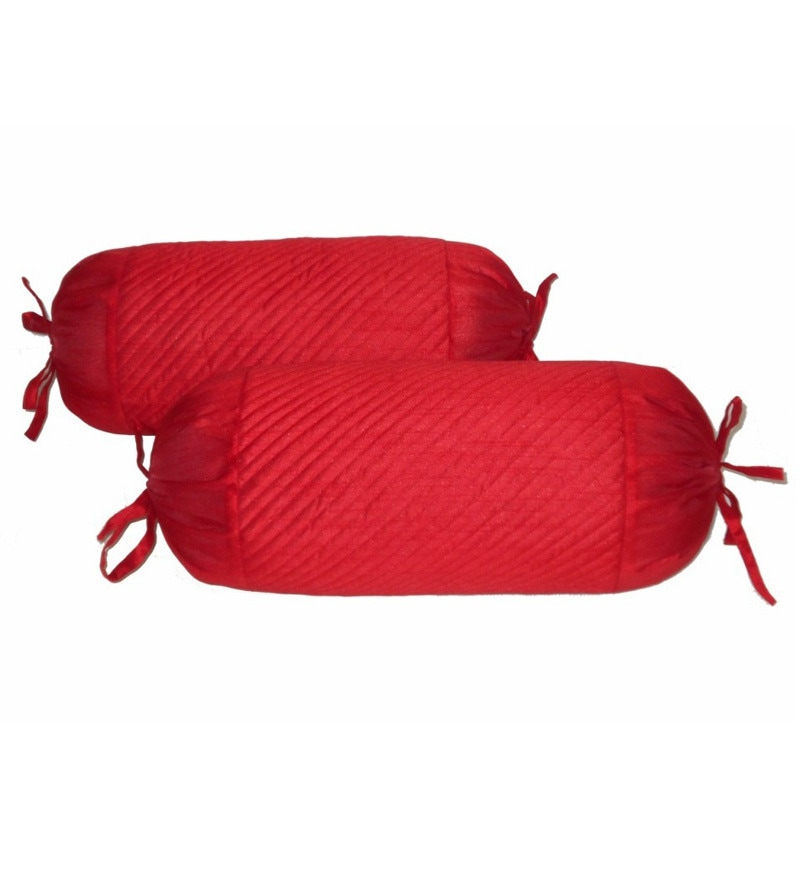 Red Polyester 24 x 10 inch Bolster Cover - Set of 2 by Zikrak Exim