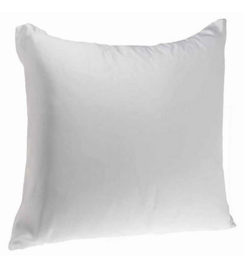 White Polyester 16 x 16 Inch Floor Cushion Insert by Zikrak Exim