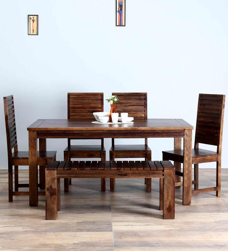 Montesano Six Seater Dining with Bench in Provincial Teak Finish by Woodsworth